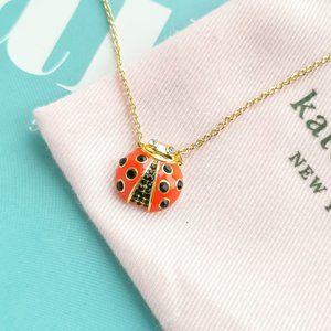 Kate Spade Gold Little Ladybug Necklace Red Multi